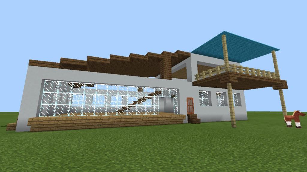 minecraft-house-Mediterranean-taste_03-1024x576 【新アプデ】 建築には必須 ブロック コンクリート 、 彩釉ブロック を解説してみる。【MCPE1.1】