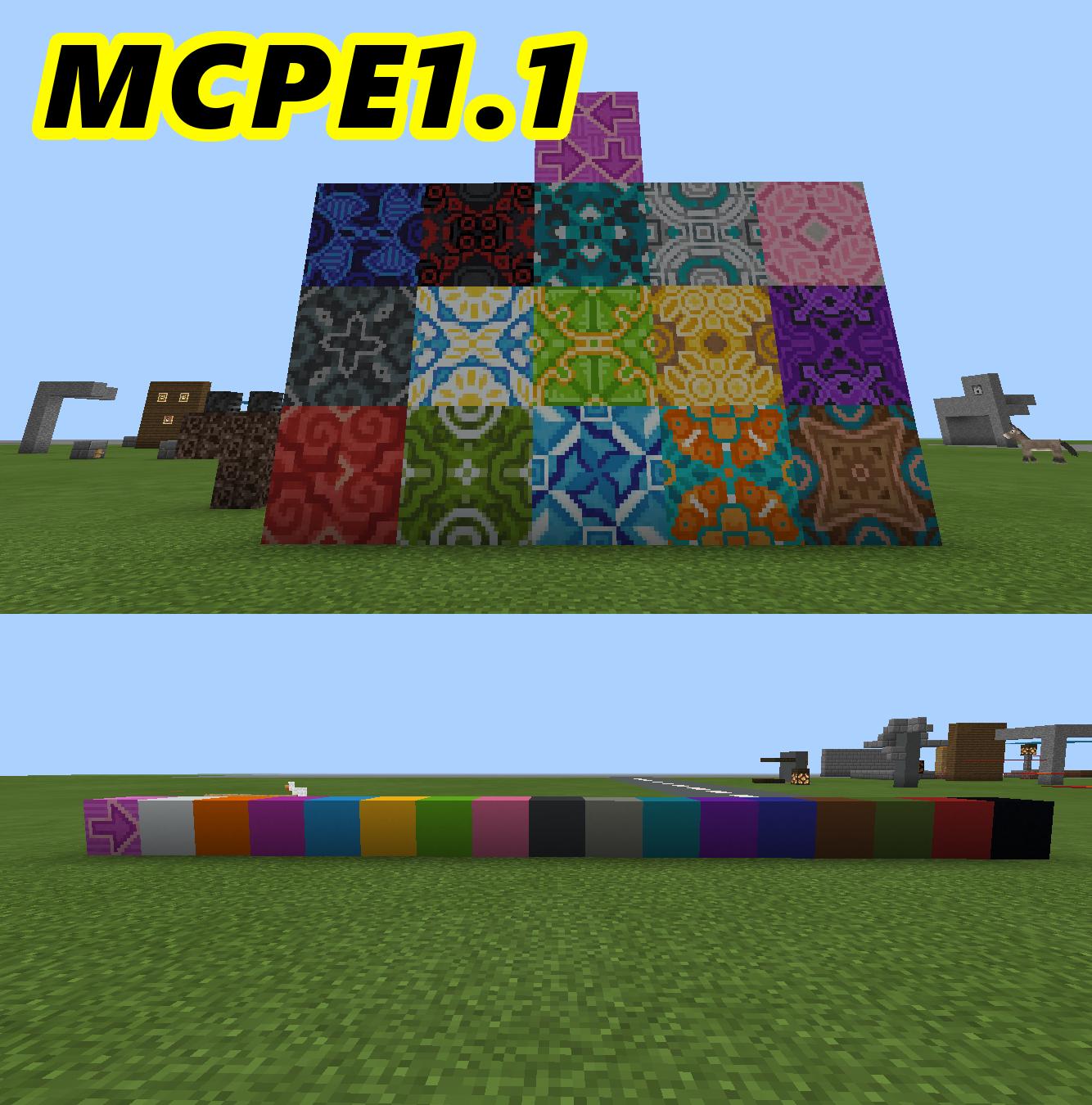 【新アプデ】 建築には必須 ブロック コンクリート 、 彩釉ブロック を解説してみる。【MCPE1.1】