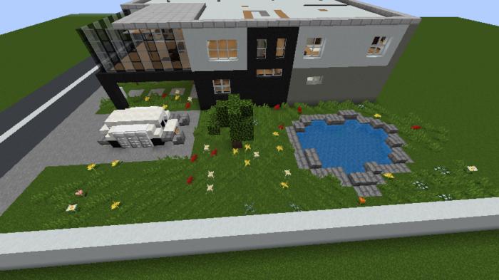 minecraft-house_108 現代建築 をマイクラでおしゃれに作れる!現代建築講座【設計図】