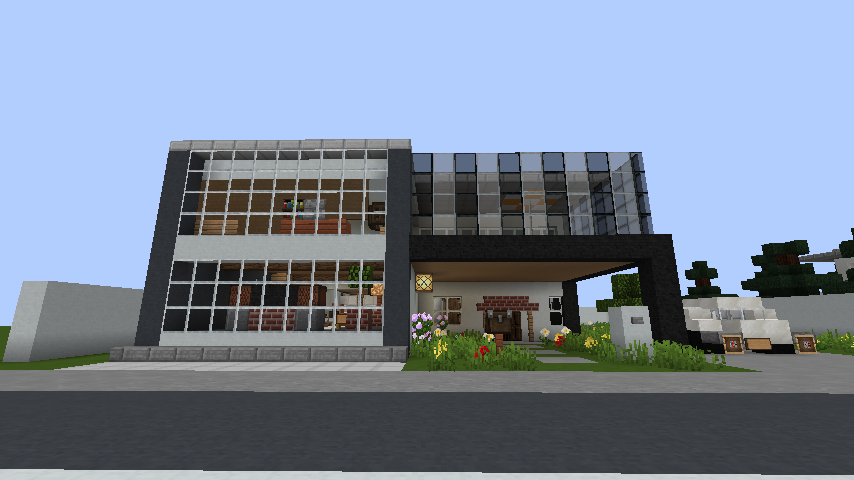 minecraft-house_111 現代建築 をマイクラでおしゃれに作れる!現代建築講座【設計図】